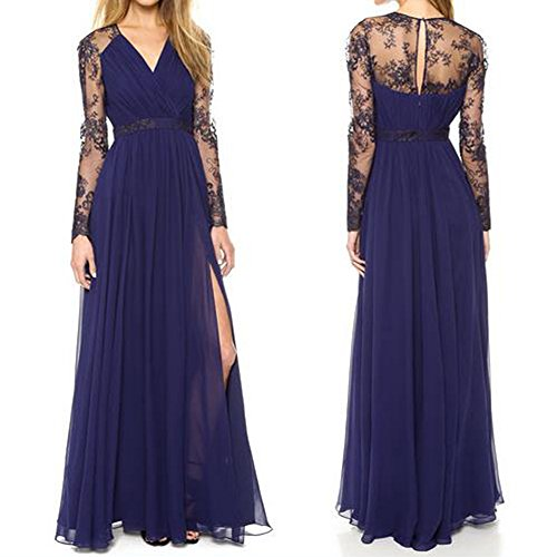 Tenflyer Sexy Lace Long Dress Chiffon Evening Dress Formal Party Dress Bridesmaid Prom Gown