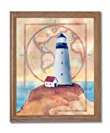 Ocean Lighthouse World Map # 1 Home Decor Wall Picture Oak Framed Art Print