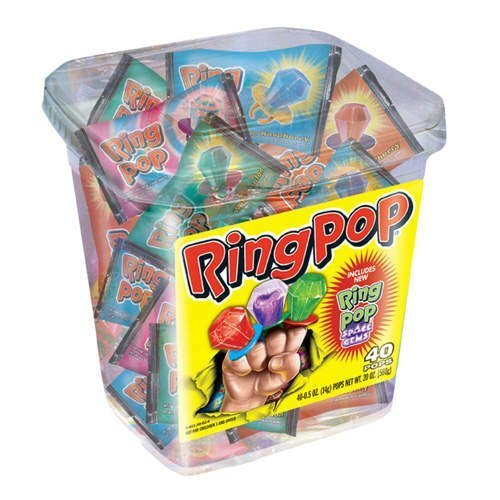 RingPop-Jewel Shaped Hard Candy, 40ct Variety