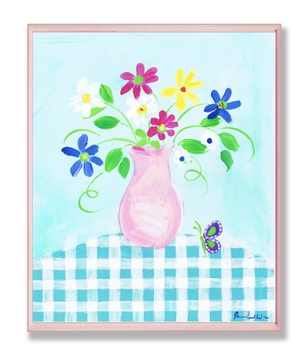 The Kids Room by Stupell Pink Vase With Flowers and Butterflies on Blue Gingham Tablecloth Rectangle Wall Plaque