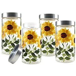 amazon com grant howard 58 ounce sunflower glass certified international tuscan sunflower 3 piece canister