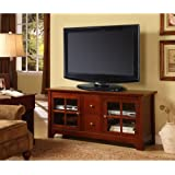 """Walker Edison 53"""" Wood TV Stand with Drawers, Brown"""