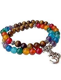 Young & Forever D'vine Enlightenment Om Charm 7 Chakra Tiger Eye Hematite Karma Spiritual Unisex Beads Yoga Healing...