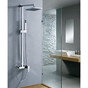 yanksmart wall mounted bathroom with handheld shower 8 shower head rainfall faucet set chrome. Black Bedroom Furniture Sets. Home Design Ideas