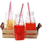 Rooster 13pc Milk Bottle With Straw And Wooden Tray