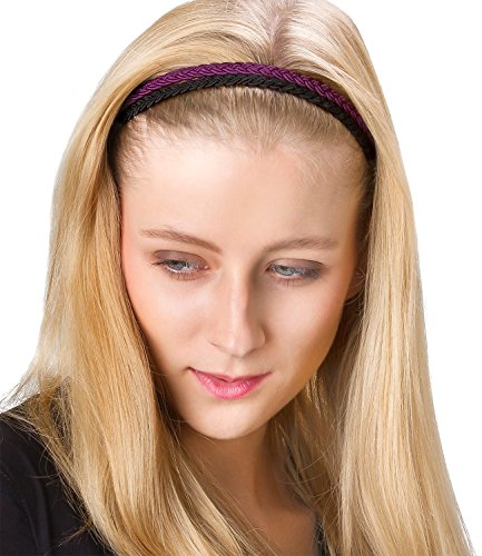 six basic 2er set haarb nder damen haarschmuck stirnband geflochten sehr elastisch in. Black Bedroom Furniture Sets. Home Design Ideas