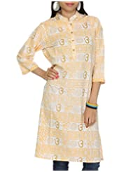 Rajrang Cotton CasuaL Wear Hand BLock Printed Long Kurta Top Tunic BLouse Size XL