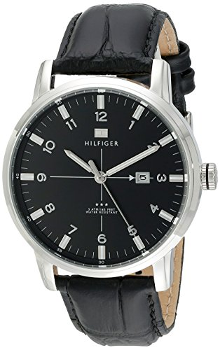 Tommy-Hilfiger-Mens-1710330-Stainless-Steel-Watch-with-Black-Genuine-Leather-Band