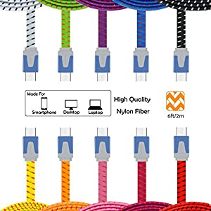 Magic-T 6FT 2M Bundle of 10pcs Multi-Color Flat Noodle Ruggedized Braided Nylon Micro USB Data Sync Cable Charging Cord for Samsung Galaxy Note 2, Galexy S4, Galaxy S3, Galaxy S2, Galaxy Nexus, HTC One X, One S, Sensation G14, ThunderBolt, Nokia N9 Lumia 920 900, Blackberry Z10, Sony Xperia Z