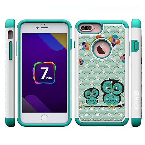 iPhone 7 Plus Case, [5.5 Inch] by HLCT, Soft Interior Silicone Bumper & Hard Shell Solid PC Back, Shock-Absorption & Skid-Proof, Anti-Scratch Hybrid Dual-Layer Slim Cover (Cute Owl) (Mophie Juice Pack Pro Case compare prices)