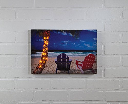 "Ohio Wholesale Palm Tree Lighted Canvas 10"" X 15"""