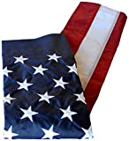 American Flag 2 1/2 x 4 ft. Nylon SolarGuard Nyl-Glo by Annin Flagmakers, 100% Made in USA with Sewn Stripes, Embroidered Stars and Banner-Style Pole Sleeve. Model 21850