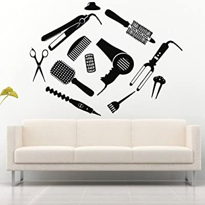 Wall Decal Decor Decals Art Hair Salon Hairdryer Beauty Mirror Lacquer Scissors Brush Forceps Curler Curling Styler (M739)