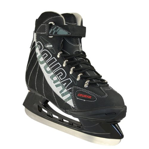 American Athletic Shoe Senior Cougar Soft Boot Hockey Skates, Black, 12 (Ice Skate Shoes Men compare prices)