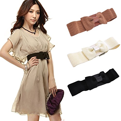 Voberry® New!fashion Lady Bowknot Stretch Elastic Wide Belt Bow Fie Waistband (Brown)