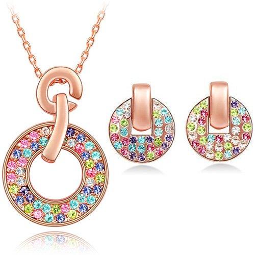 FLORAY Donna o Ragazza Ciondolo Collana e orecchini Gioielli Parure.Cristalli multicolore. Rosa Oro placcato.