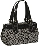 Authentic Coach Signature Soho Pleated Tote Bag Black White 13742