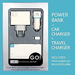 VG Munoth VALUE PACK - J15 credit card style Power Bank + U201 2.1A Travel Charger + 2.6A C207 Car Charger. Micro USB cable and iPhone connector pin included