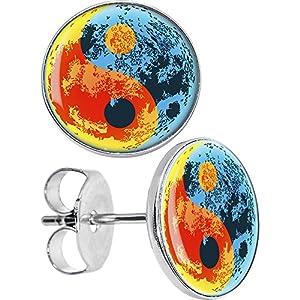 Artistic Yin Yang Symbol Stud Earrings