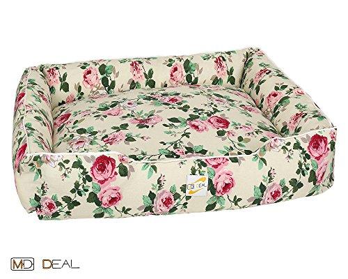 1er-Set-Hundebett-mit-Rosenmotive-Rosen-Vintage-Hundekorb-Hunde-Katzen-Bett-Katzenbett-Gre-S