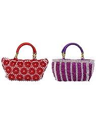 Virali Rao Women's Hand-held Bags Combo, Purple And White, Pink