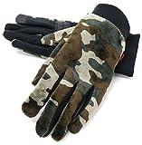 (エドウィン) EDWIN 手袋 メンズ グローブ スマホ対応 スマートフォン対応 フリース 迷彩 3color Free アーミーグリーン