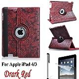 Eallc 360°Rotating Smart Grape Flower Leather Case Cover for Apple iPad 4 3 2 UK Stock (Red)