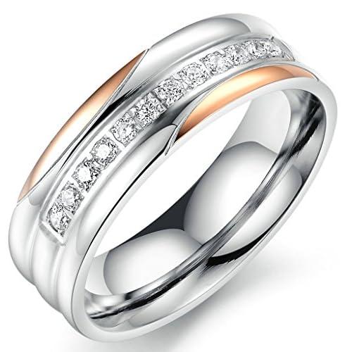 (キチシュウ)Aooazジュエリー レディースステンレスリング指輪 白いCZダイヤモンド入り シンプルのデザイン シルバー、ピンクゴールド 高品質のアクセサリー 日本サイズ17号(USサイズ8号)