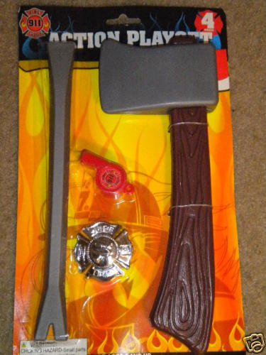4 Fireman Firefighter Halloween Costume Dress up Accessories Including Axe Badge Whistle & Crowbar