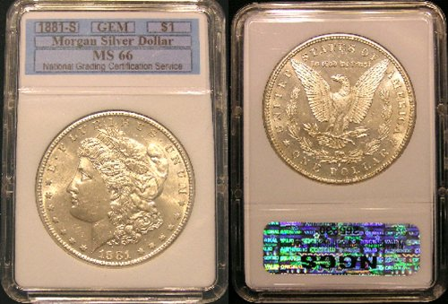 1881-S Morgan Silver Dollar in High Grade MS-66 Super Gem Brilliant Uncirculated Unique Registration #265230