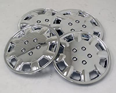 TuningPros WSC-326C15 Chrome Hubcaps Wheel Skin Cover 15-Inches Silver Set of 4