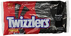 Twizzlers Twists, Black Licorice, 1-Pound Bags (Pack of 6)