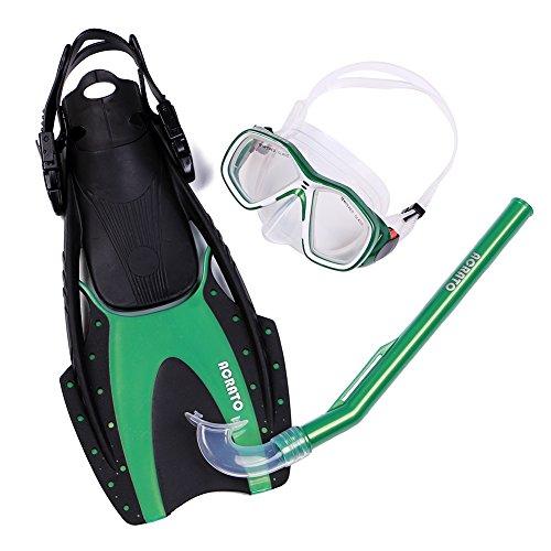 ACRATO Tauchset Schnorchelset inklusiv Tauchmaske Schnorchel Flossen für Kinder Junger Mädchen Grün