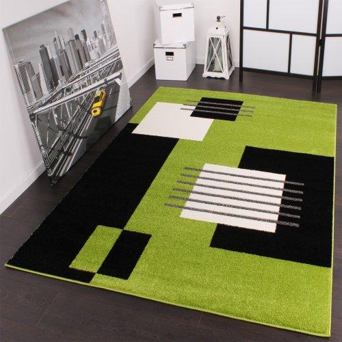 Moderner Velours Designer Teppich 60 x 100 cm Karo in Grün Schwarz Weiss