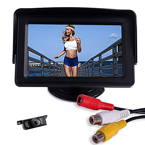 Anti-blouissement-haute-rsolution-de-43-pouces-TFT-LCD-couleur-Entre-2-Vido-voiture-Vue-arrire-moniteur-DVD-VCD-moniteur-de-180-degrs-flip-support-rglable
