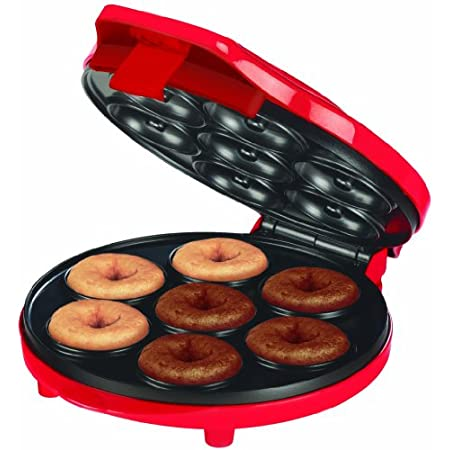 Make delicious mini donuts at home, Healthier choice, no deep frying, Makes 7 mini donuts, Easy to use, Power and ready indicator light for easy cooking, Non-stick baking tray for easy clean up.