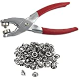 """1/4"""" Grommet Eyelet Setting Pliers with 100 Silver Grommets"""