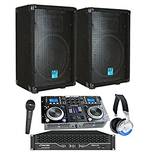 "Starter Dj System - 2100 WATTS - Connect your Laptop, iPod, USB, MP3's or Cd's! 10"" Speakers, Amp, Mixer/Cd Player, Mic, Headphones."