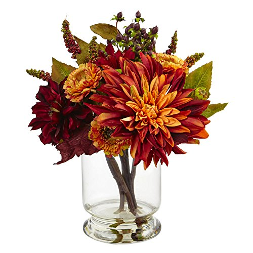 Nearly Natural Dahlia & Mum with Vase Arrangement