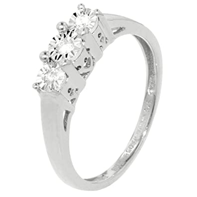 White Gold Illusion 0.07ct Diamond Trilogy Ring