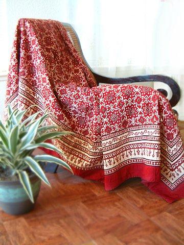 Ruby Kilim ~ Rustic Red Black Designer Quilt Bedspread King Size 108X90 front-402952