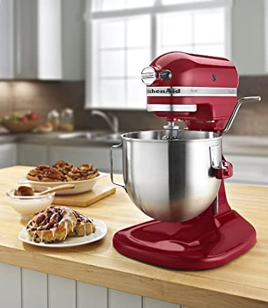 red kitchen stand mixer