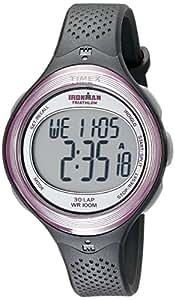 Timex Women's T5K600 Ironman Clear View 30-Lap Dark Gray/Pink Resin Strap Watch