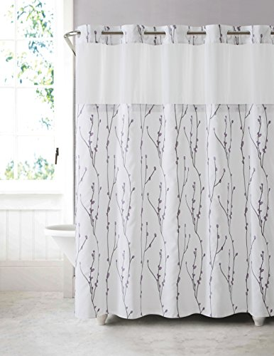 Hookless RBH40MY080 Cherry Bloom Shower Curtain with Peva Liner -  White Lilac (Hookless Shower Curtain compare prices)