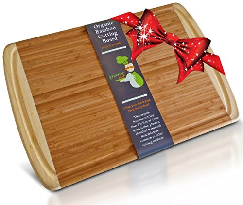 #1 Best ORGANIC Bamboo Wood Cutting & Kitchen Chopping Board with Groove - FDA Compliant with No Risk Money Back Guarantee - Extra Large - Perfect Wedding or Housewarming Gift - 1