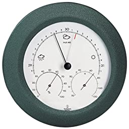 Weather Station - Analog - Barometer - Thermometer - Hygrometer - 8 in. Round - Charcoal Gray