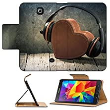 buy Luxlady Premium Samsung Galaxy Tab 4 7.0 Inch Flip Pu Leather Wallet Case Headphones With Red Heart Love Music Vintage Retro Image 33251332