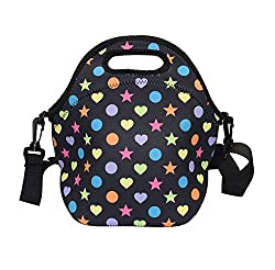 Amerzam Neoprene Lunch Bags/Lunch Boxes, Waterproof Outdoor Travel Picnic Lunch Box Bag Tote with Zipper and Adjustable Crossbody Strap for Women Men Kids Girls Adults (Black Lunch Bag)