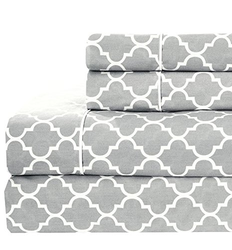 Meridian Gray and White Brushed Percale Cotton Sheets, 5pc Adjustable King, Split-King Bed Sheet Set 100-Percent Cotton, Superior Percale Weave, Crispy Soft, Deep Pocket, Modern Reactive Print (Split Adjustable King Sheets compare prices)