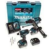 Makita DLX2005X2 18 V Cordless li-ion 2 Piece Cordless Kit with 4 x Impact Gold Bits includes 3 x 3 Ah Batteries